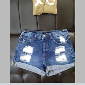 Forever 21 Disressed Blue Jean Shorts 24